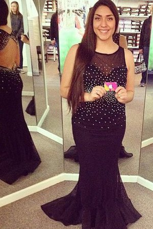 Sleeveless Beading Plus Size Sweep Train Chiffon Prom Dress