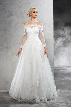 Off The Shoulder Ball Gown Long Zipper Up Natural Waist Wedding Dress
