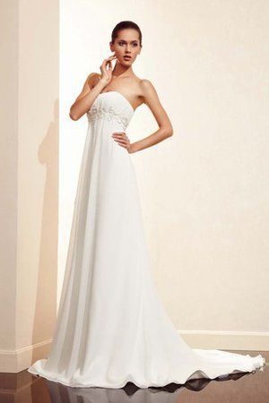 Empire Waist Appliques Strapless Floor Length Sleeveless Wedding Dress