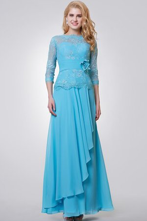 Lace Fabric Long Beading Ankle Length Flowers Evening Dress