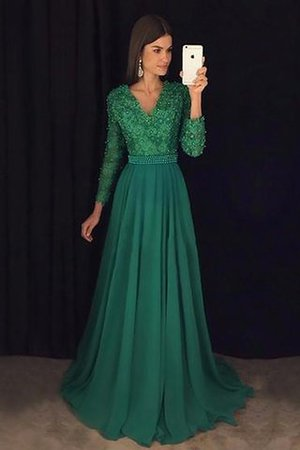 Lace V-Neck Natural Waist Chiffon A-Line Evening Dress