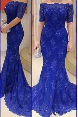 Sexy Mermaid Floor Length Appliques Short Sleeves Evening Dress