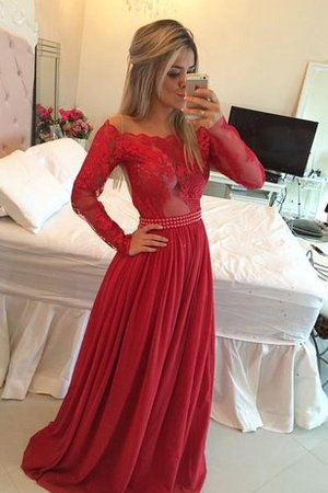 Simple Chiffon A-Line Lace Off The Shoulder Evening Dress