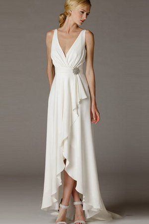 Ruched Sleeveless Simple Sheath Informal & Casual Wedding Dress