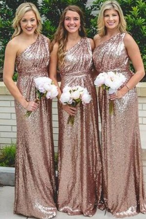 Elegant & Luxurious Floor Length Ruched Sequined One Shoulder Bridesmaid Dress