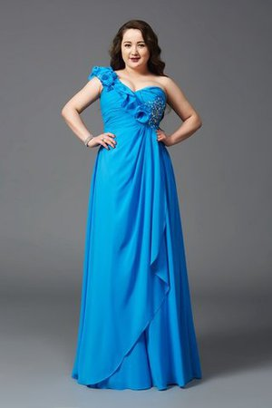 Chiffon Zipper Up Plus Size Princess One Shoulder Prom Dress