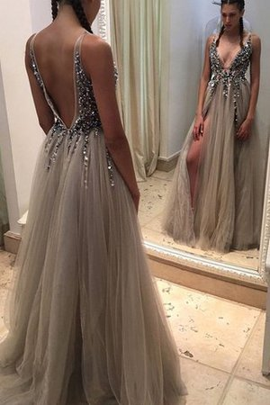 V-Neck A-Line Floor Length Natural Waist Sequined Evening Dress