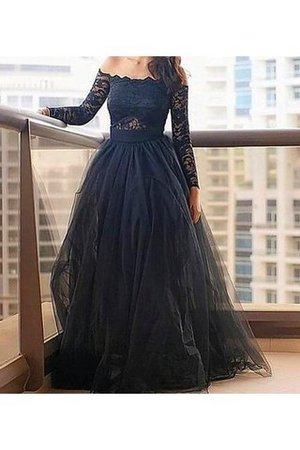 Long Sleeves A-Line Floor Length Lace Evening Dress