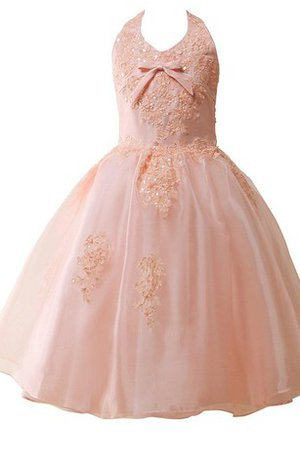 Sequined Halter Appliques A-Line Sleeveless Flower Girl Dress