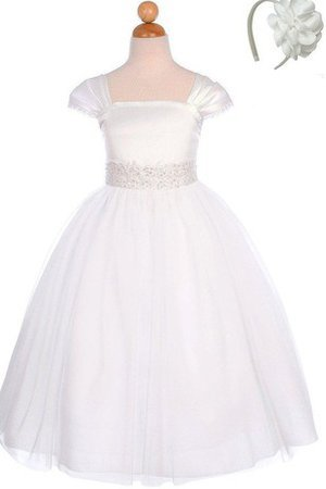 Sequined Empire Waist Zipper Up Floor Length Tulle Flower Girl Dress