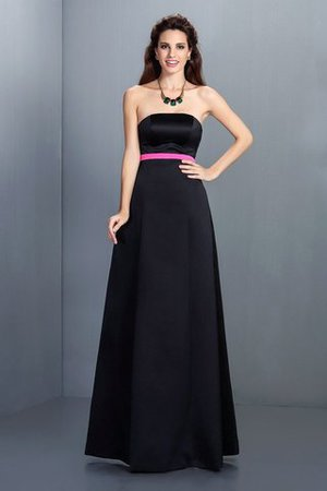 Sleeveless Zipper Up Long Satin Floor Length Bridesmaid Dress