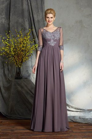 Half Sleeves Floor Length Zipper Up A-Line Mother Of The Bride Dress