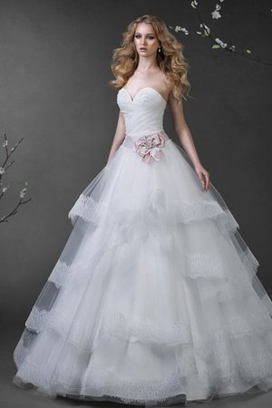 Bow Ball Gown Floor Length Sweep Train Lace-up Wedding Dress