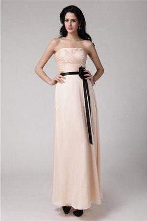 Sleeveless Ankle Length Sheath Strapless Elastic Woven Satin Bridesmaid Dress