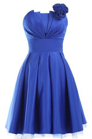 Ruched Strapless Appliques Satin Short Bridesmaid Dress