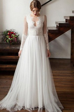 A-Line Lace Fabric Long Sleeves Scoop Tulle Wedding Dress
