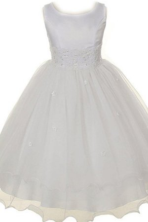 Scoop Satin Sequined Appliques Zipper Up Flower Girl Dress