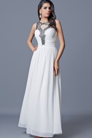 Natural Waist Long Chiffon Ruched Pleated Evening Dress