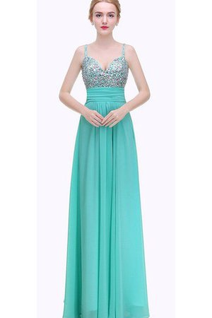 Spaghetti Straps Ruched Floor Length Chiffon Sleeveless Prom Dress
