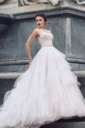 Crystal Sleeveless Tulle Sweetheart Cascading Ruffle Wedding Dress