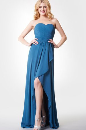 Split Front High Low A-Line Zipper Up Sweetheart Bridesmaid Dress