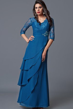 Tiered Half Sleeves Beading Formal Elegant & Luxurious Evening Dress