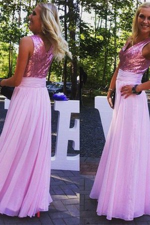 Sleeveless Floor Length V-Neck Chiffon Princess Bridesmaid Dress