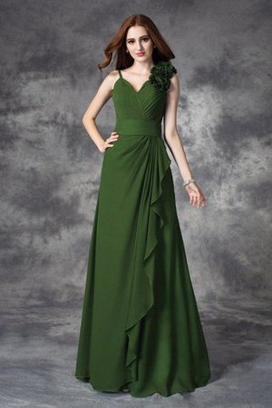A-Line Long V-Neck Zipper Up Bridesmaid Dress