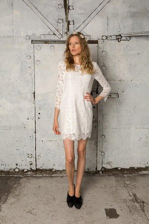 Lace Fabric Short Natural Waist Long Sleeves Wedding Dress