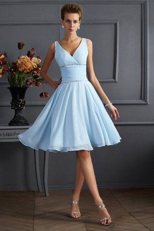 Natural Waist Pleated Short Sleeveless V-Neck Bridesmaid Dress