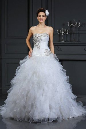 Chapel Train Beading Lace-up Sleeveless Organza Wedding Dress