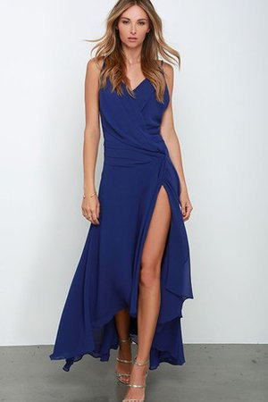 Chiffon Sexy Ruched Spaghetti Straps Deep V-Neck Bridesmaid Dress