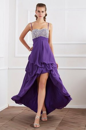 High Low Beading Chiffon Princess Zipper Up Evening Dress