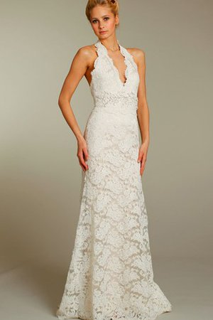 Floor Length Sexy Lace Fabric V-Neck Zipper Up Wedding Dress