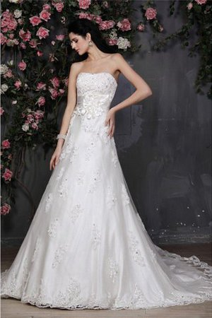 Strapless Flowers A-Line Beading Sleeveless Wedding Dress