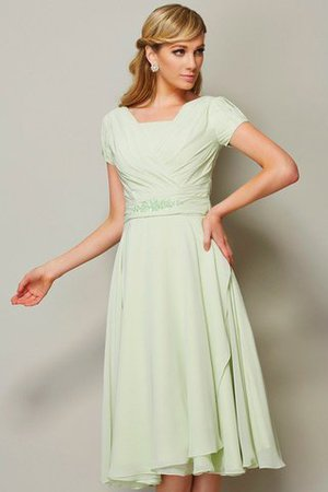 Bateau Natural Waist Chiffon Short Zipper Up Bridesmaid Dress