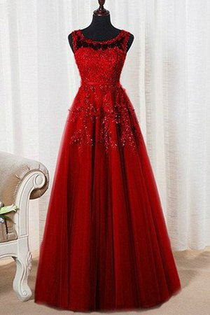 Natural Waist Scoop Sleeveless A-Line Evening Dress