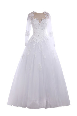 Exclusive Fancy Demure Natural Waist Long Sleeves Wedding Dress
