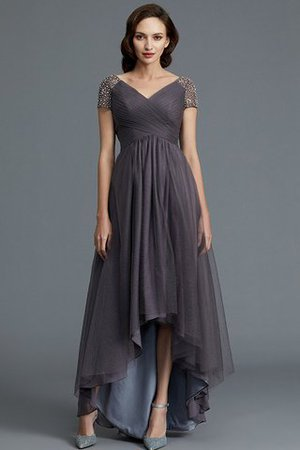Short Sleeves Natural Waist Asymmetrical V-Neck Mother Of The Bride Dress