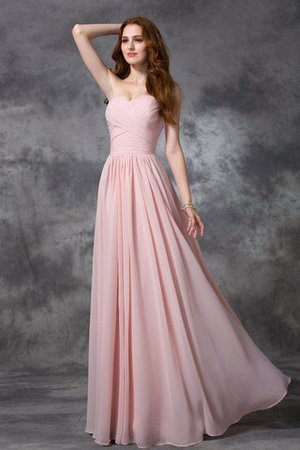 Sweetheart Zipper Up Long Natural Waist Sleeveless Bridesmaid Dress