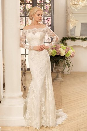 Mid Back Mermaid Off The Shoulder Chic & Modern Misses Wedding Dress