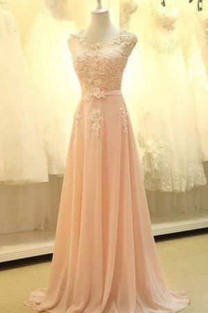 Scoop Chiffon Capped Sleeves Sweep Train Zipper Up Bridesmaid Dress