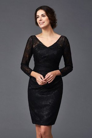 Long Sleeves V-Neck Elastic Woven Satin Sheath Lace Mother Of The Bride Dress