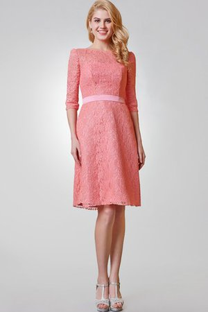 Half Sleeves Knee Length A-Line Lace Elegant & Luxurious Cocktail Dress