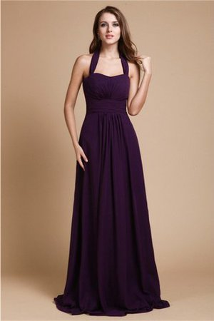 Halter Empire Waist Chiffon Zipper Up A-Line Bridesmaid Dress