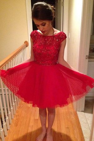 Tulle Beading Natural Waist A-Line Sleeveless Party Dress