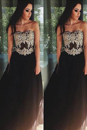Tulle Princess Appliques Sweetheart Sleeveless Prom Dress