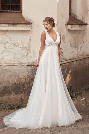 Elegant & Luxurious Empire Waist Lace-up Chiffon A-Line Wedding Dress