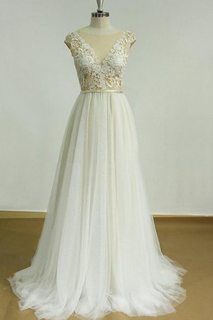 Tulle Beach V-Neck Capped Sleeves Sweep Train Wedding Dress
