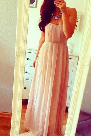 Zipper Up Pleated Floor Length Chiffon Natural Waist Prom Dress